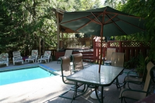 Large, heated pool and brand new 8 person covered hot tub